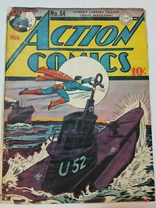 Action Comics #54 (Cover Only) Nazi WWII War Cover Superman DC 1942 GD+*