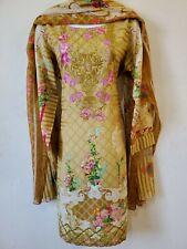 Pakistani / Indian 3PC Shalwar Kameez Cotton Embroidery Multi Women Size M NEW