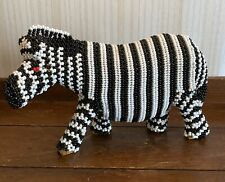 Unique Solid African Beaded Zebra Statue - Sturdy & Solid!