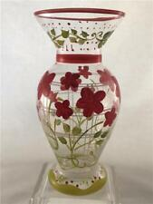 Glass Bud Vase Hand Painted Floral Garden Motif Salmon Pink and Green