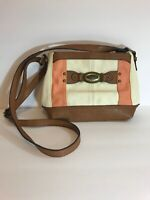 BOC by Born Crossbody Handbag Purse Tan Brown Off White Peach