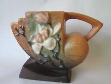 SHELL VASE! Vintage ROSEVILLE ART pottery original BROWN MAGNOLIA pattern LOVELY
