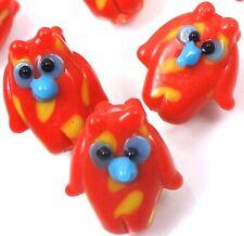Lampwork Handmade Glass orange Owl Beads (6)