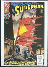 SUPERMAN REPRO POSTER . ISSUE #75 DAN JURGENS 1993 FRONT COVER . DC COMICS D80