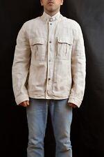 Moncler Cotton & Flax Biker Style Jacket Beige Authentic 2009  Sz 6 UK46 XL VGC