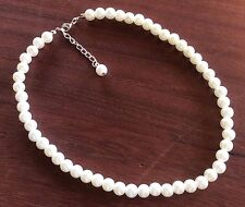 """16""""  Dainty 8 mm White Pearl Necklace Wedding Necklace, Bridesmaid Necklace"""