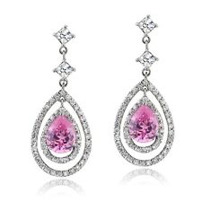 5.6 Light Pink & White CZ Triple Teardrop Dangle Earrings in Brass
