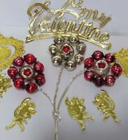 Mercury Glass Bead INDENT FLOWERS 3 RED SILVER Christmas Ornament Corsage supply