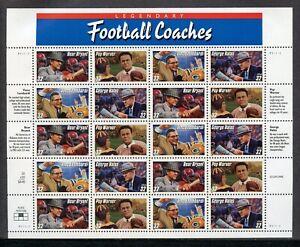 US Scott 3143-46 Legendary Football Coaches Pane of 20 Mint NH