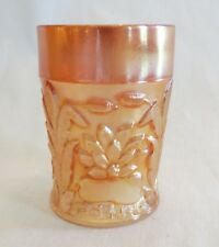 "Fenton Waterlily & Cattails Marigold Carnival Glass 4"" Flat Tumbler"