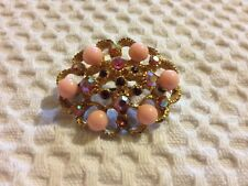 Oval Vintage Brooch - Pink & Red Stones & Beads - Costume Jewellery