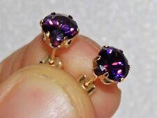 9ct Gold 1.50CT Amethyst Ladies Single Stone Stud Earrings -