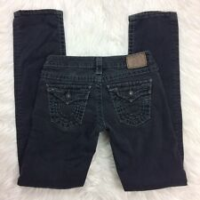 TRUE RELIGION Womens Black BILLY SUPER T Straight Leg Flap Thick Stitch Size 26