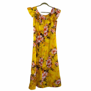 Vintage Penneys Long Dress Yellow Orange Hibiscus Hawaii Tropical Luau Maxi