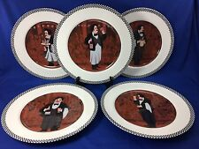 GUY BUFFET Williams Sonoma LES GARCONS Checkered Rim DINNER PLATES Set Of 5
