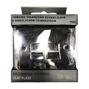 TELEPHONE SOCKET SLAVE 2 GANG SPCBTS2 CHROME DECORATIVE SCREWED FLAT PLATE