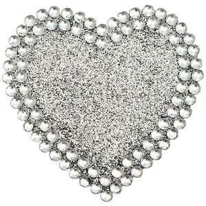 DIAMANTE HEART STICKER 5cm Glitter Craft Self Adhesive Rhinestone Stick On Gem