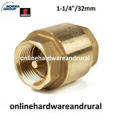 """Spring Check Valve Brass - 1-1/4"""" 32mm BSP - One Way Valve - FREE SHIPPING!!"""