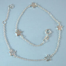 Anklet STERLING SILVER .925 NEW Tiny Stars Designer Look Ankle Bracelet USA