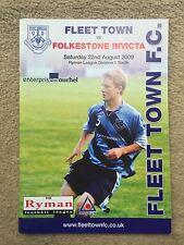 Fleet Town v Folkestone Invicta - Ryman League Div 1 South 2009/10 Programme