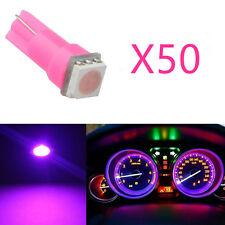 50Pcs Pink Purple T5 LED Car Wedge Gauge Dashboard Instrument Cluster Light 12V
