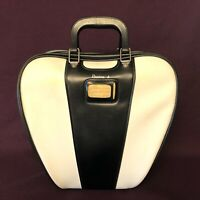Vintage Retro BRUNSWICK Bowling Ball Bag With Metal Wire Rack - Black and White