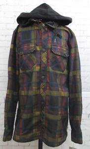 Volcom Hooded Flannel Jacket Men's Small Black Plaid New