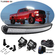 "Fit Dodge Ram 1500 2500 3500 Upper Roof 54"" Curved LED Light Bar Combo w/Wirings"