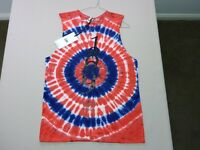 105 WOMENS NWT LEE RED / WHITE / BLUE TIE DYE SLEEVELESS TOP SZE 10 $60 RRP.