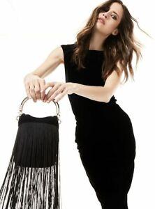 Olga Berg Stellar Fringed Top Handle Bag in Black