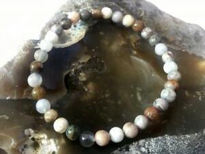 Men's Bracelets Natural Gemstone Bamboo Agate Bracelet 6mm beads