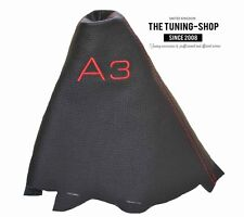 """For Audi A3 2001-2012 Gear Boot Black Genuine Leather """"A3"""" Red Embroidery"""
