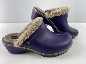 Ladies CROCS Cobbler Leather Clogs Mules Fur Lined》Purple Mulberry/Mushroom》10