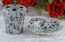 Badezimmer Set Porzellan Seifenschale Antik Seifenablage Becher Keramik Muschel
