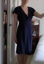 FCUK Navy Blue Silk Wrap Bow Pencil Midi V-Neck Dress size 10