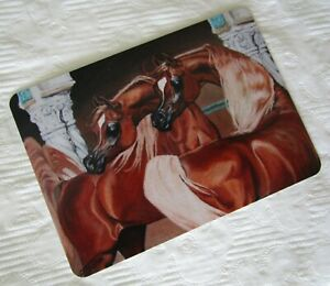 HORSE SWAP PLAYING CARD~LINEN BRAND NEW~'MAJESTIC PAIR LIVER C/NUT ARABIANS'#3
