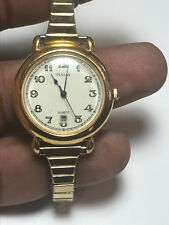 Vintage Ladies Gold Tone Pulsar V827-0350 Analog Watch With Date Feature