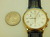 BAUME MERCIER FULL SOLID 18K GOLD JUMBO 37MM CLASSIMA CHRONOGRAPH DATE WATCH