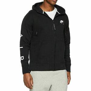 Nike Air Logo Mens Fleece Skinny Fit Black Hoodie L
