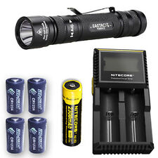 EagleTac P200LC2 Flashlight w/D2 Charger, NL183 & 4x Eco-Sensa CR123A Batteries