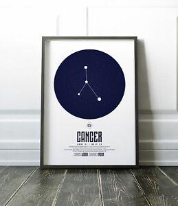 Zodiac Star Signs Print / Picture Cancer / Modern / Minimalist Wall Art