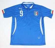 Small Puma Italy Blue Home Soccer Jersey Mario Balotelli #9