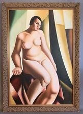 LG Vintage SURREALIST Old ART DECO Style NUDE LADY PORTRAIT Oil PAINTING Frame