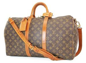 Authentic LOUIS VUITTON Keepall Bandouliere 45 Monogram Canvas Duffel Bag #37605