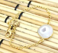 H5580 Royal Natural White Solar Quartz 24kGold Plated Bracelet Men Women Jewelry