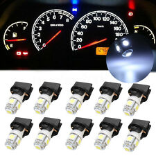 10x White T10 194 LED Bulbs for Instrument Gauge Cluster Dash Light W/ Sockets
