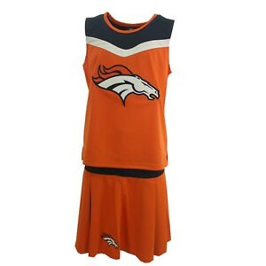 Denver Broncos NFL Youth Kids Girls 2 Piece Cheerleader Outfit with Skirt Set