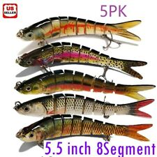 5Pcs Lifelike Eyes 8 Segment Bionic Bait Treble Hooks Crucian Carp Fishing Lure