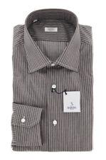 New $325 Barba Napoli Brown Striped Shirt - Slim - 15.5/39 - (D2U10T310719)