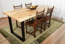 Massivholztisch aus Eiche 4cm Baumkante AmericanOAK inkl Tischkufen aus Metall